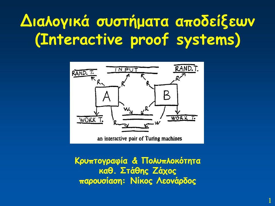1 Διαλογικά συστήματα αποδείξεων (Interactive proof systems) Κρυπτογραφία & Πολυπλοκότητα καθ. Στάθης Ζάχος παρουσίαση: Νίκος Λεονάρδος