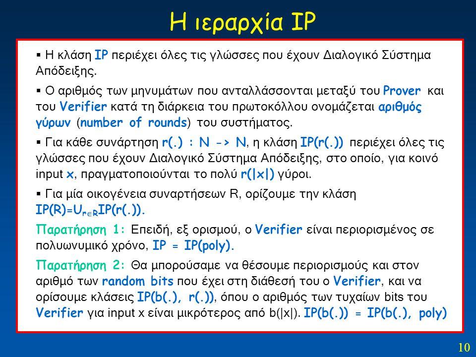 10 Η ιεραρχία ΙΡ  Η κλάση ΙΡ περιέχει όλες τις γλώσσες που έχουν Διαλογικό Σύστημα Απόδειξης.  Ο αριθμός των μηνυμάτων που ανταλλάσσονται μεταξύ του