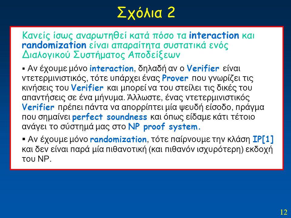 12 Σχόλια 2 Κανείς ίσως αναρωτηθεί κατά πόσο τα interaction και randomization είναι απαραίτητα συστατικά ενός Διαλογικού Συστήματος Αποδείξεων  Αν έχ