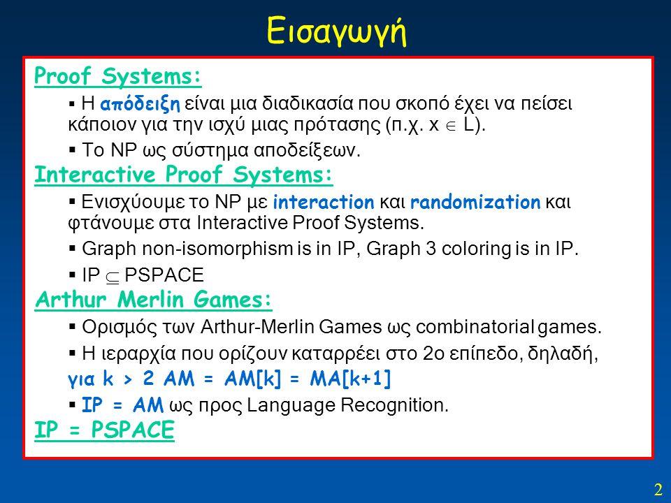2 Εισαγωγή Proof Systems:  Η απόδειξη είναι μια διαδικασία που σκοπό έχει να πείσει κάποιον για την ισχύ μιας πρότασης (π.χ. x  L).  Το ΝΡ ως σύστη