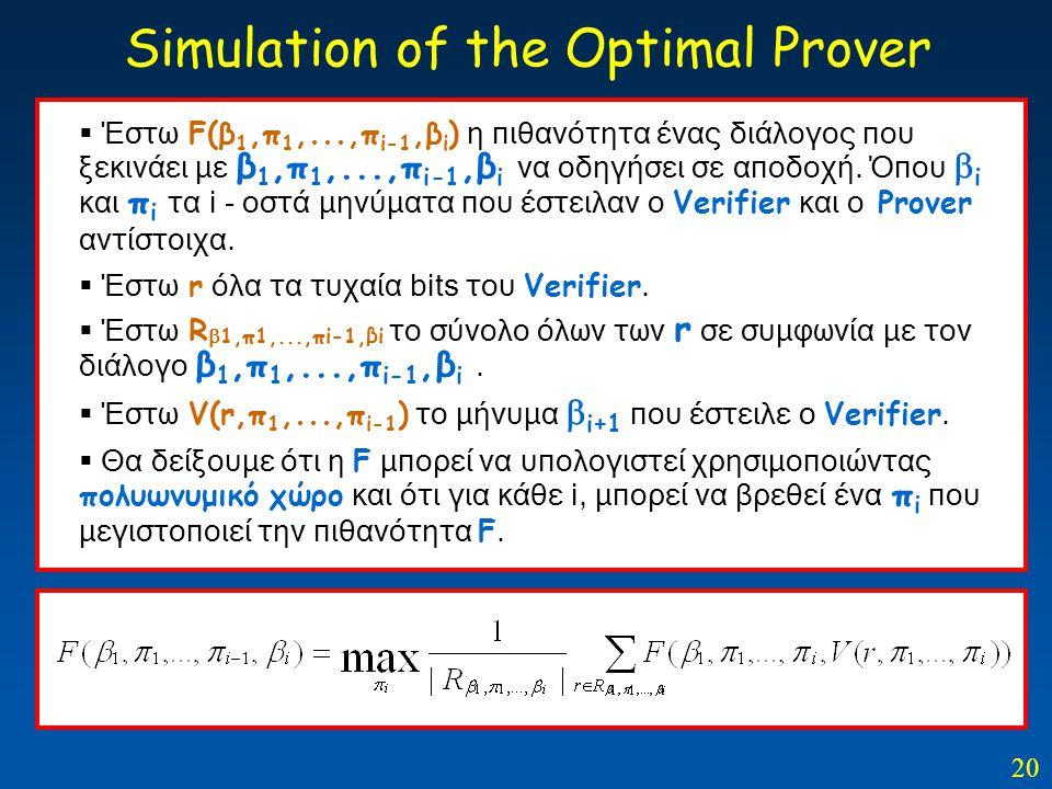 20 Simulation of the Optimal Prover  Έστω F(β 1,π 1,...,π i-1,β i ) η πιθανότητα ένας διάλογος που ξεκινάει με β 1,π 1,...,π i-1,β i να οδηγήσει σε α