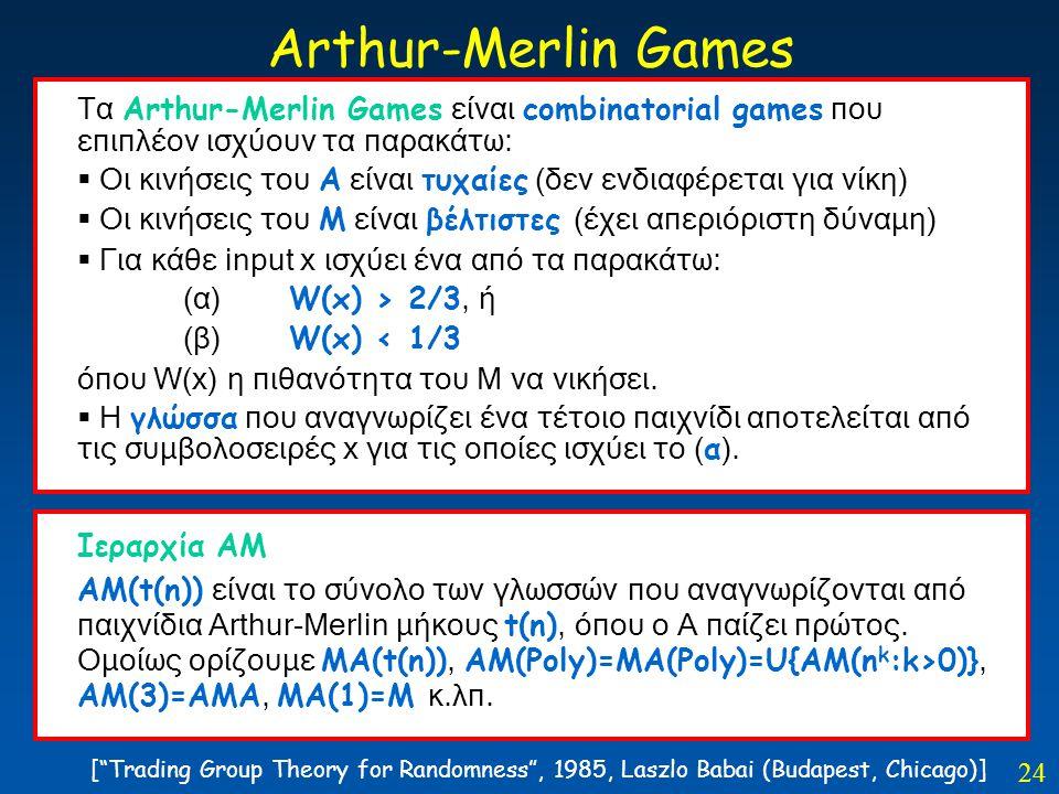 24 Arthur-Merlin Games Tα Arthur-Merlin Games είναι combinatorial games που επιπλέον ισχύουν τα παρακάτω:  Οι κινήσεις του Α είναι τυχαίες (δεν ενδια