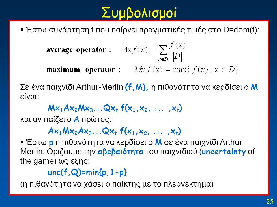 25 Συμβολισμοί  Έστω συνάρτηση f που παίρνει πραγματικές τιμές στο D=dom(f): Σε ένα παιχνίδι Arthur-Merlin (f,Μ), η πιθανότητα να κερδίσει ο Μ είναι: