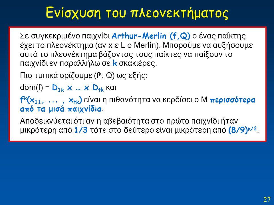 27 Ενίσχυση του πλεονεκτήματος Σε συγκεκριμένο παιχνίδι Arthur-Merlin (f,Q) ο ένας παίκτης έχει το πλεονέκτημα (αν x ε L o Merlin). Μπορούμε να αυξήσο