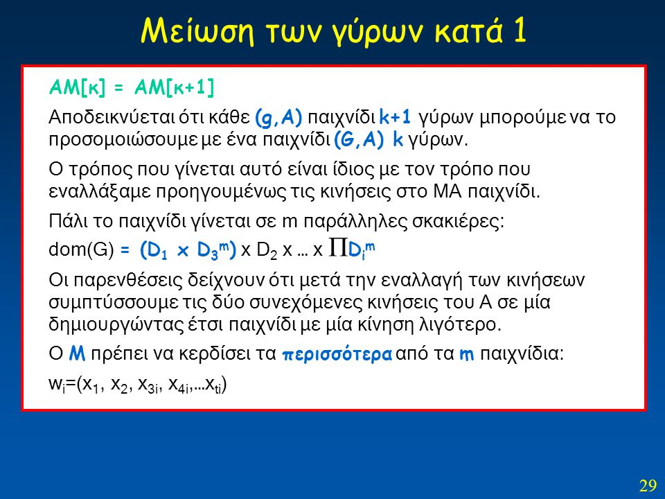 29 Μείωση των γύρων κατά 1 ΑΜ[κ] = ΑΜ[κ+1] Αποδεικνύεται ότι κάθε (g,A) παιχνίδι k+1 γύρων μπορούμε να το προσομοιώσουμε με ένα παιχνίδι (G,A) k γύρων