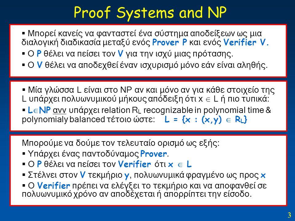 3  Μπορεί κανείς να φανταστεί ένα σύστημα αποδείξεων ως μια διαλογική διαδικασία μεταξύ ενός Prover P και ενός Verifier V.  O P θέλει να πείσει τον