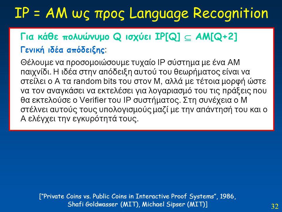 32 IP = AM ως προς Language Recognition Για κάθε πολυώνυμο Q ισχύει IP[Q]  AM[Q+2] Γενική ιδέα απόδειξης : Θέλουμε να προσομοιώσουμε τυχαίο ΙΡ σύστημ