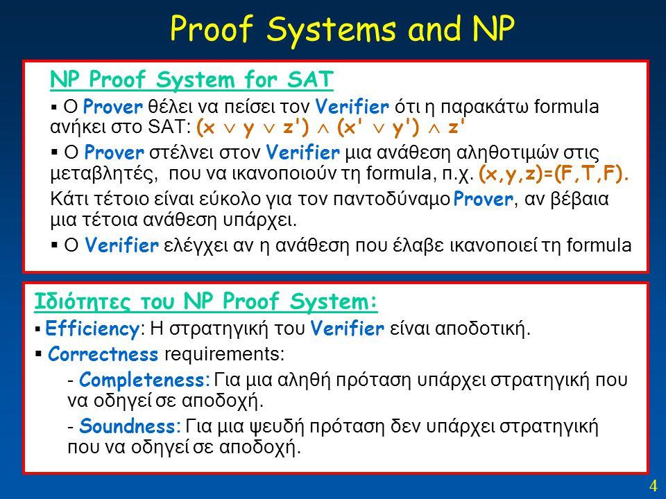4 ΝP Proof System for SAT  O Prover θέλει να πείσει τον Verifier ότι η παρακάτω formula ανήκει στο SAT: (x  y  z')  (x'  y')  z'  O Prover στέλ