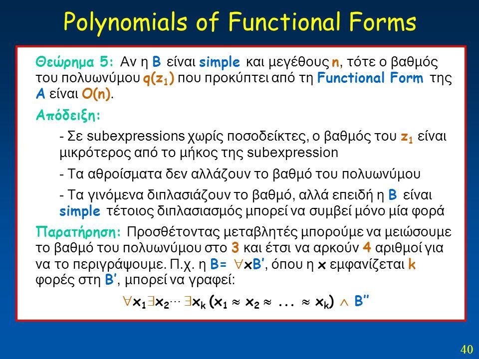 40 Polynomials of Functional Forms Θεώρημα 5: Αν η Β είναι simple και μεγέθους n, τότε ο βαθμός του πολυωνύμου q(z 1 ) που προκύπτει από τη Functional