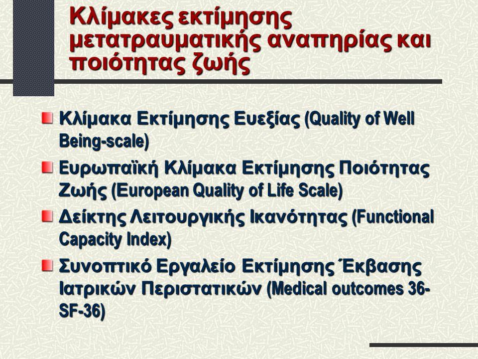 Κλίμακες εκτίμησης μετατραυματικής αναπηρίας και ποιότητας ζωής Κλίμακα Εκτίμησης Ευεξίας (Quality of Well Being-scale) E υρωπαϊκή Κλίμακα Εκτίμησης Π