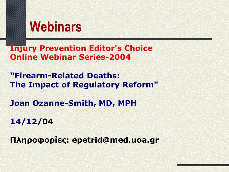 Webinars Injury Prevention Editor's Choice Online Webinar Series-2004
