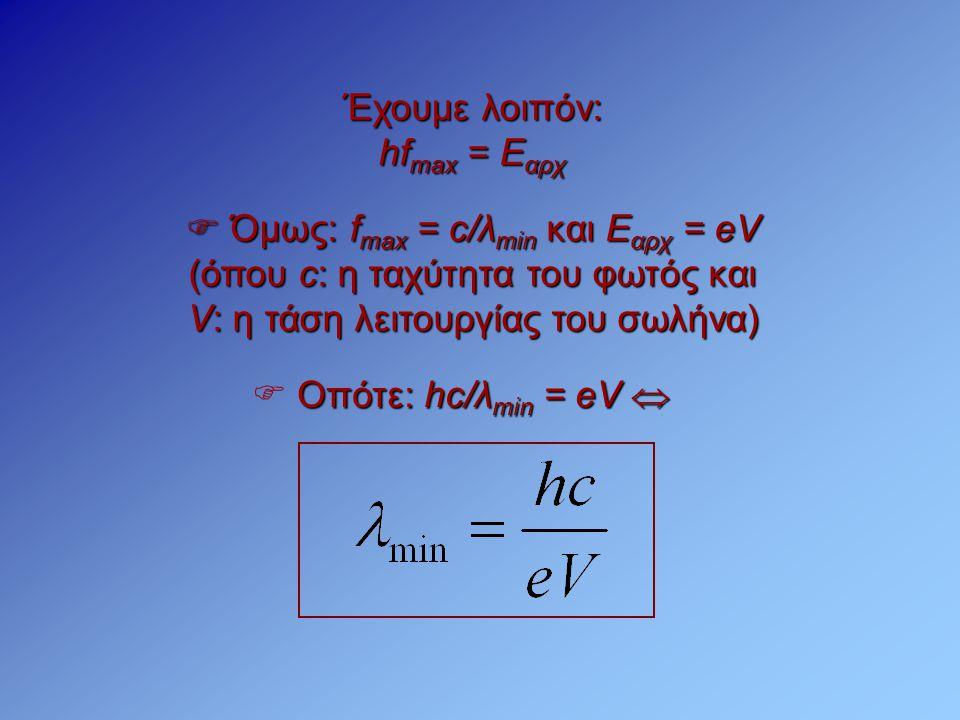  Όμως: f max = c/λ min και Ε αρχ = eV (όπου c: η ταχύτητα του φωτός και V: η τάση λειτουργίας του σωλήνα) Οπότε: hc/λ min = eV   Οπότε: hc/λ min =