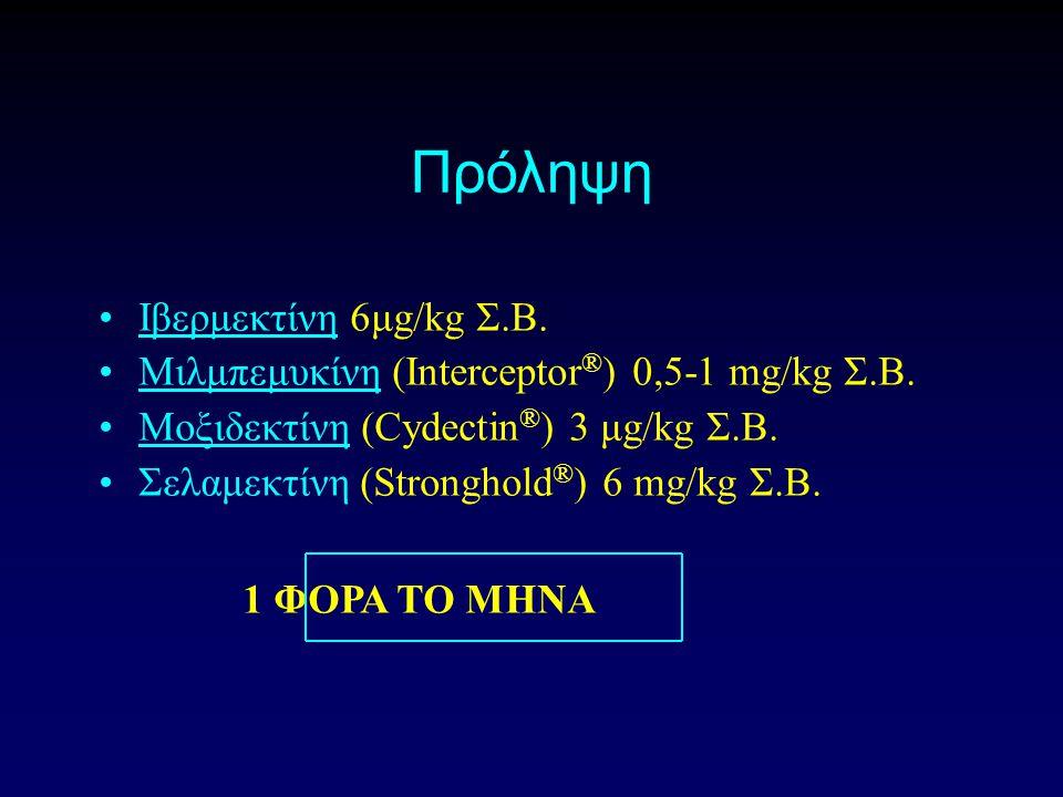 Πρόληψη Ιβερμεκτίνη 6μg/kg Σ.Β. Μιλμπεμυκίνη (Interceptor ® ) 0,5-1 mg/kg Σ.Β.