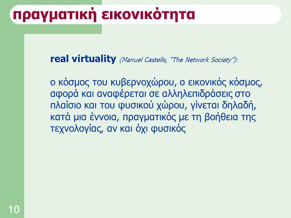 10 real virtuality (Manuel Castells, The Network Society ): ο κόσμος του κυβερνοχώρου, ο εικονικός κόσμος, αφορά και αναφέρεται σε αλληλεπιδράσεις στο πλαίσιο και του φυσικού χώρου, γίνεται δηλαδή, κατά μια έννοια, πραγματικός με τη βοήθεια της τεχνολογίας, αν και όχι φυσικός πραγματική εικονικότητα
