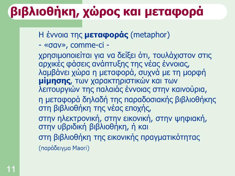 11 Η έννοια της μεταφοράς (metaphor) - «σαν», comme-ci - χρησιμοποιείται για να δείξει ότι, τουλάχιστον στις αρχικές φάσεις ανάπτυξης της νέας έννοιας, λαμβάνει χώρα η μεταφορά, συχνά με τη μορφή μίμησης, των χαρακτηριστικών και των λειτουργιών της παλαιάς έννοιας στην καινούρια, η μεταφορά δηλαδή της παραδοσιακής βιβλιοθήκης στη βιβλιοθήκη της νέας εποχής, στην ηλεκτρονική, στην εικονική, στην ψηφιακή, στην υβριδική βιβλιοθήκη, ή και στη βιβλιοθήκη της εικονικής πραγματικότητας (παράδειγμα Maori) βιβλιοθήκη, χώρος και μεταφορά