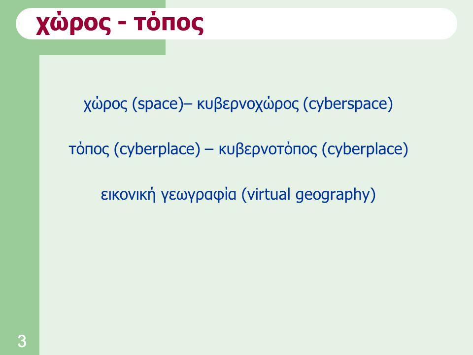 3 χώρος (space)– κυβερνοχώρος (cyberspace) τόπος (cyberplace) – κυβερνοτόπος (cyberplace) εικονική γεωγραφία (virtual geography) χώρος - τόπος