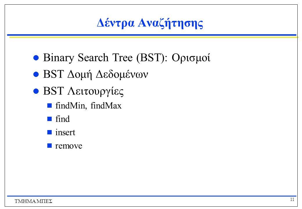 11 ΤΜΗΜΑ ΜΠΕΣ Δέντρα Αναζήτησης Binary Search Tree (BST): Ορισμοί BST Δομή Δεδομένων BST Λειτουργίες  findMin, findMax  find  insert  remove