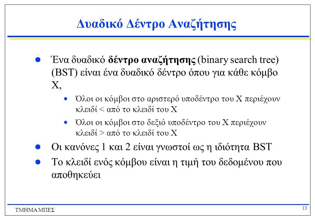 13 ΤΜΗΜΑ ΜΠΕΣ Δυαδικό Δέντρο Αναζήτησης Ένα δυαδικό δέντρο αναζήτησης (binary search tree) (BST) είναι ένα δυαδικό δέντρο όπου για κάθε κόμβο X,  Όλο