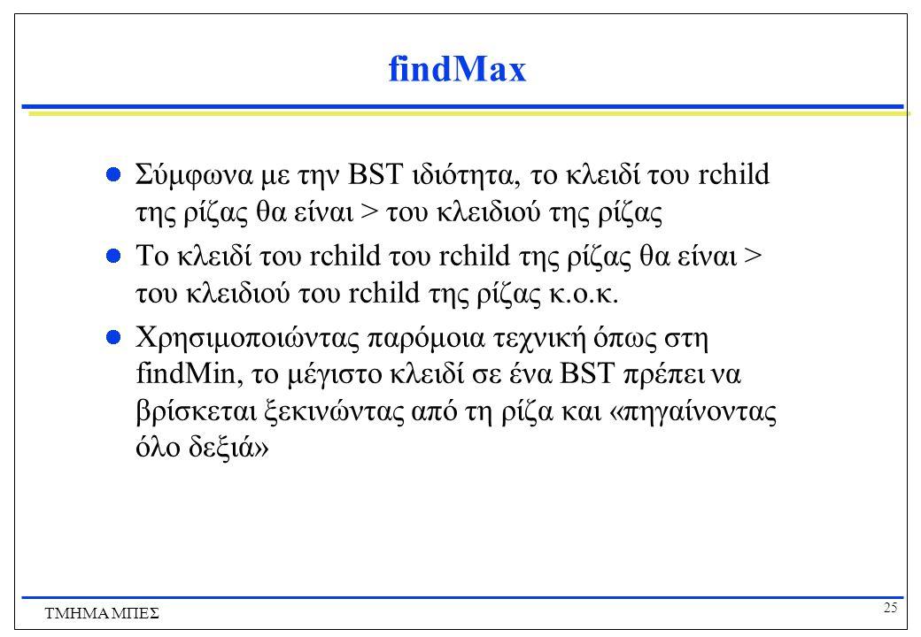 25 ΤΜΗΜΑ ΜΠΕΣ findMax Σύμφωνα με την BST ιδιότητα, το κλειδί του rchild της ρίζας θα είναι > του κλειδιού της ρίζας Το κλειδί του rchild του rchild τη