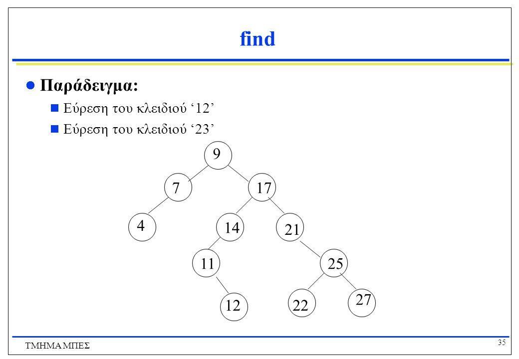 35 ΤΜΗΜΑ ΜΠΕΣ find Παράδειγμα:  Εύρεση του κλειδιού '12'  Εύρεση του κλειδιού '23' 9 7 4 17 14 11 12 21 25 27 22