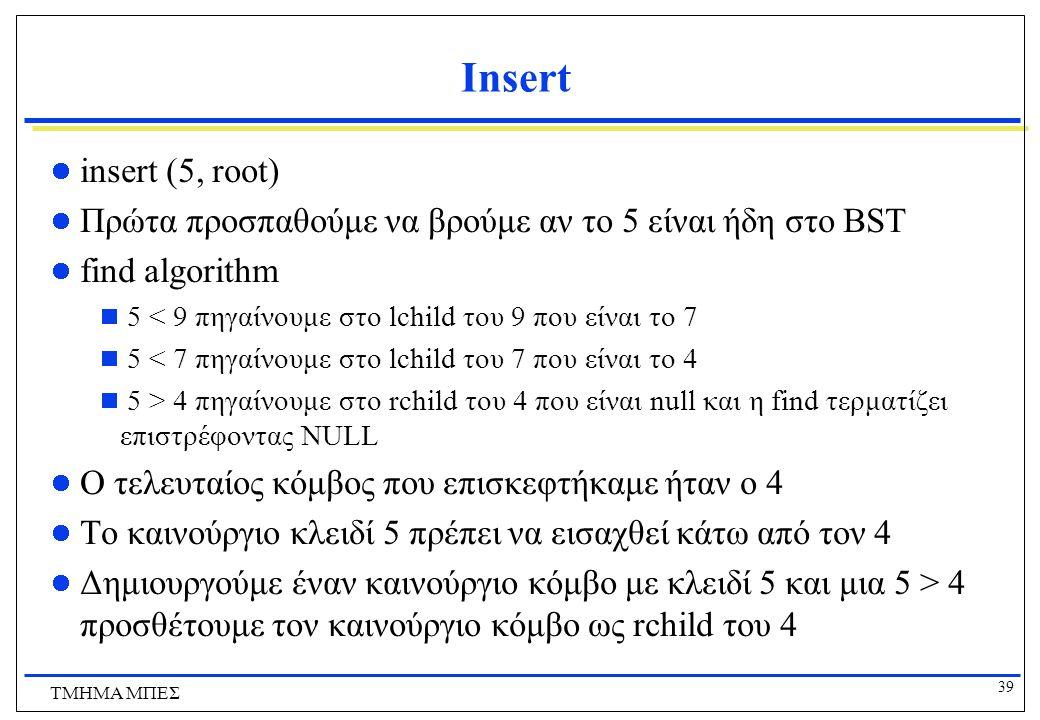 39 ΤΜΗΜΑ ΜΠΕΣ Insert insert (5, root) Πρώτα προσπαθούμε να βρούμε αν το 5 είναι ήδη στο BST find algorithm  5 < 9 πηγαίνουμε στο lchild του 9 που είν