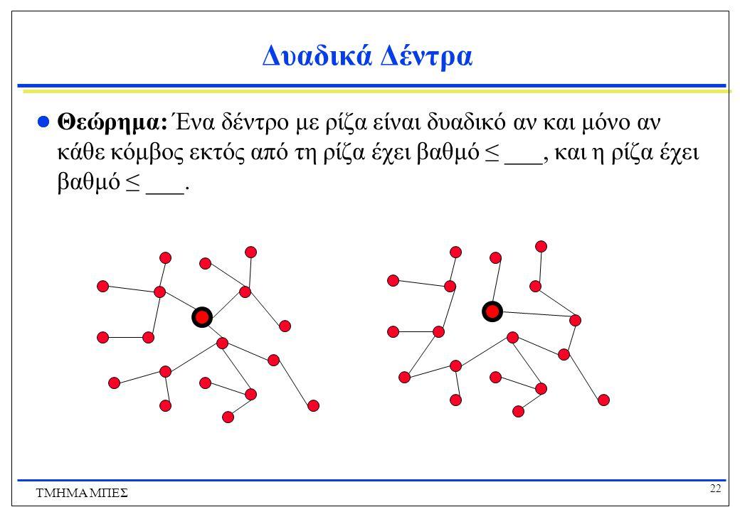 22 ΤΜΗΜΑ ΜΠΕΣ Δυαδικά Δέντρα Θεώρημα: Ένα δέντρο με ρίζα είναι δυαδικό αν και μόνο αν κάθε κόμβος εκτός από τη ρίζα έχει βαθμό ≤ ___, και η ρίζα έχει
