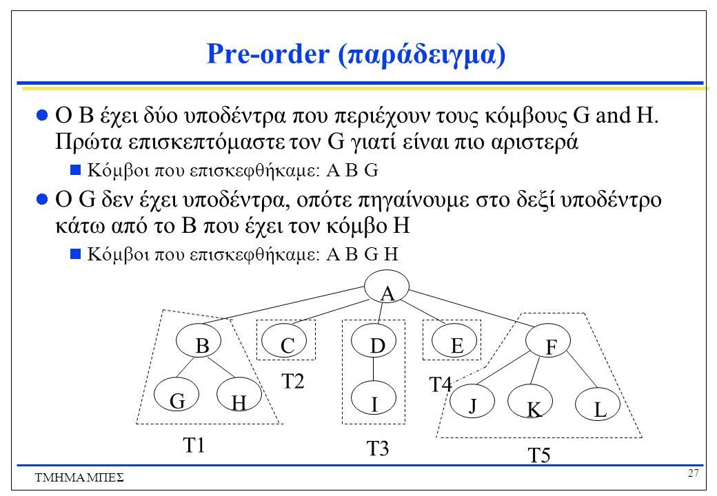27 ΤΜΗΜΑ ΜΠΕΣ Pre-order (παράδειγμα) Ο B έχει δύο υποδέντρα που περιέχουν τους κόμβους G and H. Πρώτα επισκεπτόμαστε τον G γιατί είναι πιο αριστερά 