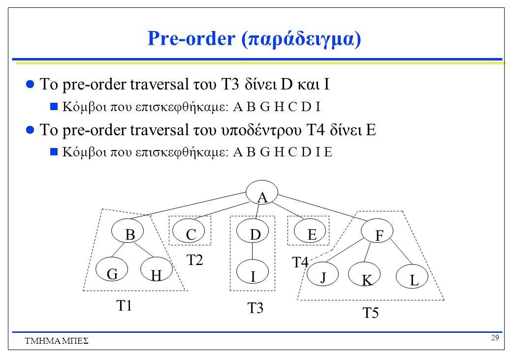 29 ΤΜΗΜΑ ΜΠΕΣ Pre-order (παράδειγμα) Το pre-order traversal του T3 δίνει D και I  Κόμβοι που επισκεφθήκαμε: A B G H C D I Το pre-order traversal του
