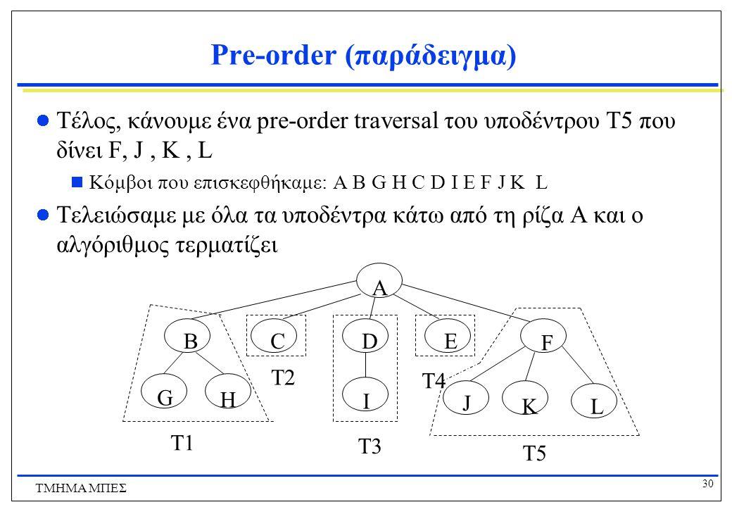 30 ΤΜΗΜΑ ΜΠΕΣ Pre-order (παράδειγμα) Τέλος, κάνουμε ένα pre-order traversal του υποδέντρου T5 που δίνει F, J, K, L  Κόμβοι που επισκεφθήκαμε: A B G H