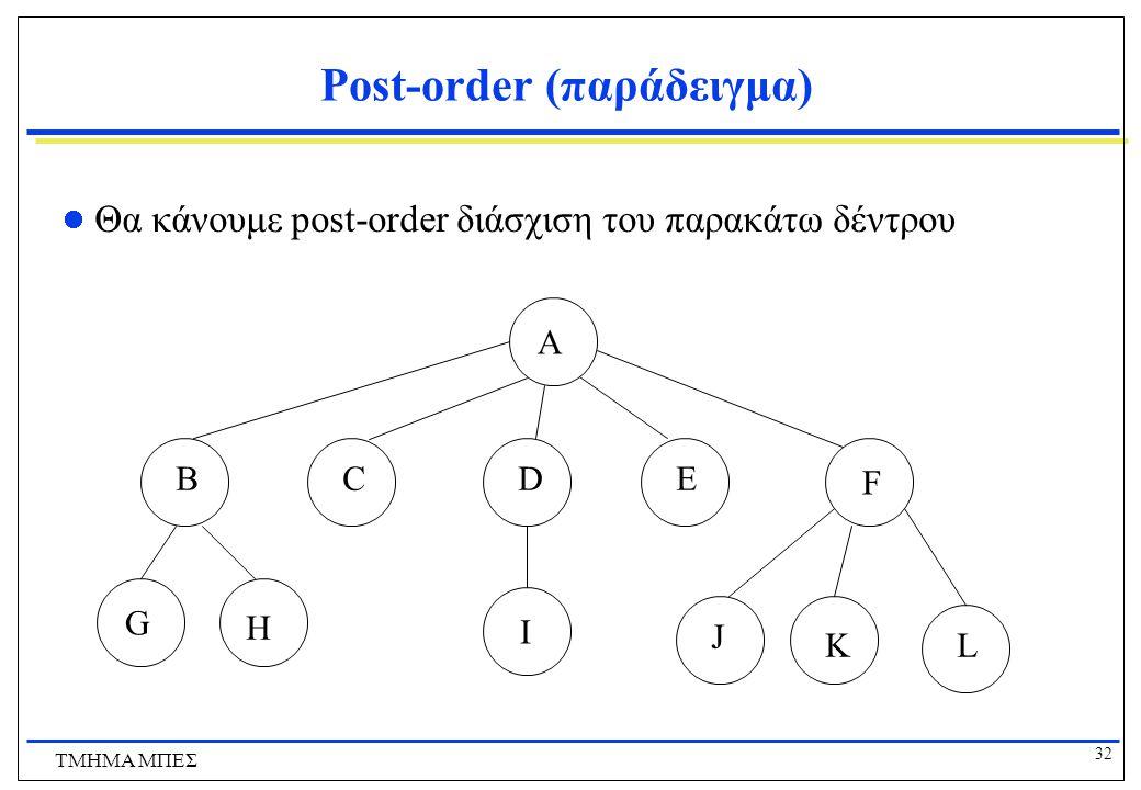 32 ΤΜΗΜΑ ΜΠΕΣ Post-order (παράδειγμα) Θα κάνουμε post-order διάσχιση του παρακάτω δέντρου A BCDE FG H I J K L