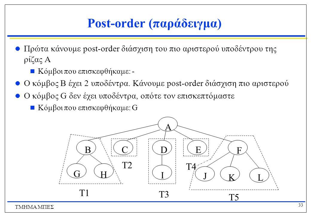 33 ΤΜΗΜΑ ΜΠΕΣ Post-order (παράδειγμα) Πρώτα κάνουμε post-order διάσχιση του πιο αριστερού υποδέντρου της ρίζας A  Κόμβοι που επισκεφθήκαμε: - Ο κόμβο
