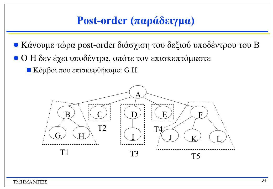 34 ΤΜΗΜΑ ΜΠΕΣ Post-order (παράδειγμα) Κάνουμε τώρα post-order διάσχιση του δεξιού υποδέντρου του Β Ο Η δεν έχει υποδέντρα, οπότε τον επισκεπτόμαστε 