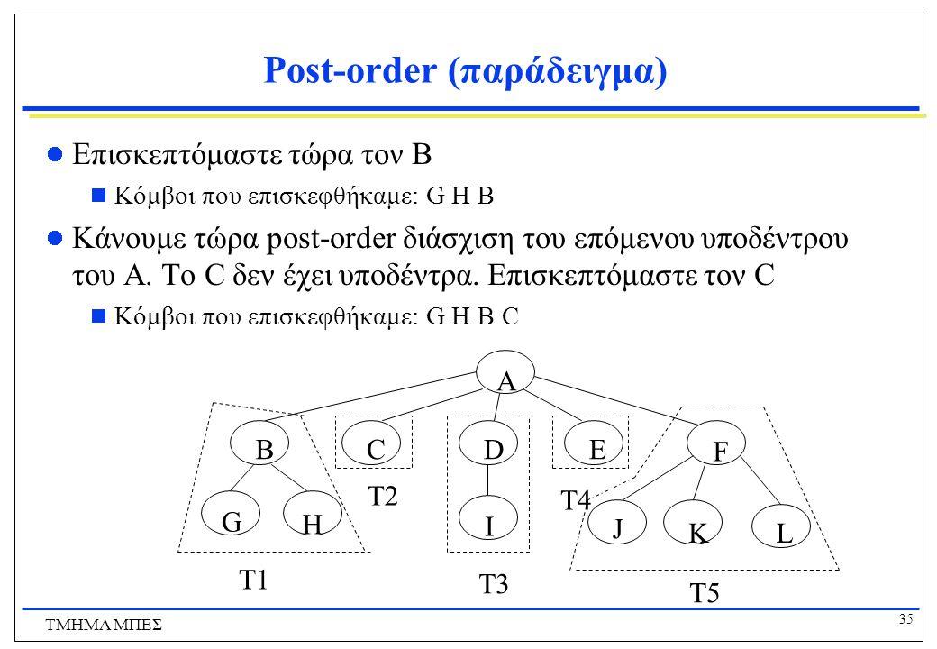 35 ΤΜΗΜΑ ΜΠΕΣ Post-order (παράδειγμα) Επισκεπτόμαστε τώρα τον Β  Κόμβοι που επισκεφθήκαμε: G H Β Κάνουμε τώρα post-order διάσχιση του επόμενου υποδέν