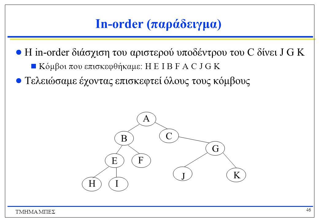46 ΤΜΗΜΑ ΜΠΕΣ In-order (παράδειγμα) Η in-order διάσχιση του αριστερού υποδέντρου του C δίνει J G K  Κόμβοι που επισκεφθήκαμε: H Ε Ι Β F A C J G K Τελ
