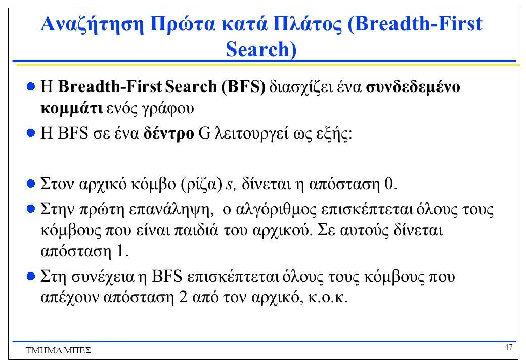 47 ΤΜΗΜΑ ΜΠΕΣ Αναζήτηση Πρώτα κατά Πλάτος (Breadth-First Search) H Breadth-First Search (BFS) διασχίζει ένα συνδεδεμένο κομμάτι ενός γράφου Η BFS σε έ