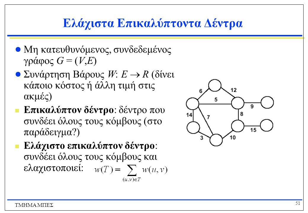 51 ΤΜΗΜΑ ΜΠΕΣ Ελάχιστα Επικαλύπτοντα Δέντρα Μη κατευθυνόμενος, συνδεδεμένος γράφος G = (V,E) Συνάρτηση Βάρους W: E  R (δίνει κάποιο κόστος ή άλλη τιμ