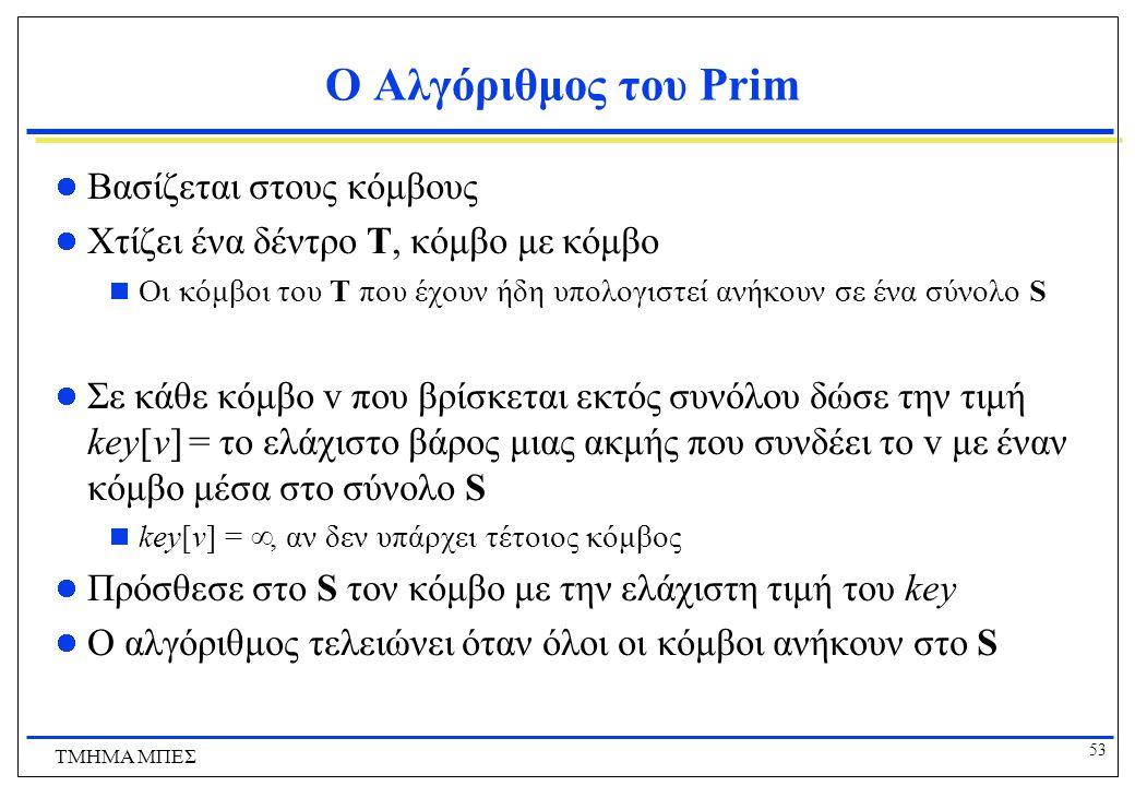 53 ΤΜΗΜΑ ΜΠΕΣ Ο Αλγόριθμος του Prim Βασίζεται στους κόμβους Χτίζει ένα δέντρο Τ, κόμβο με κόμβο  Οι κόμβοι του Τ που έχουν ήδη υπολογιστεί ανήκουν σε