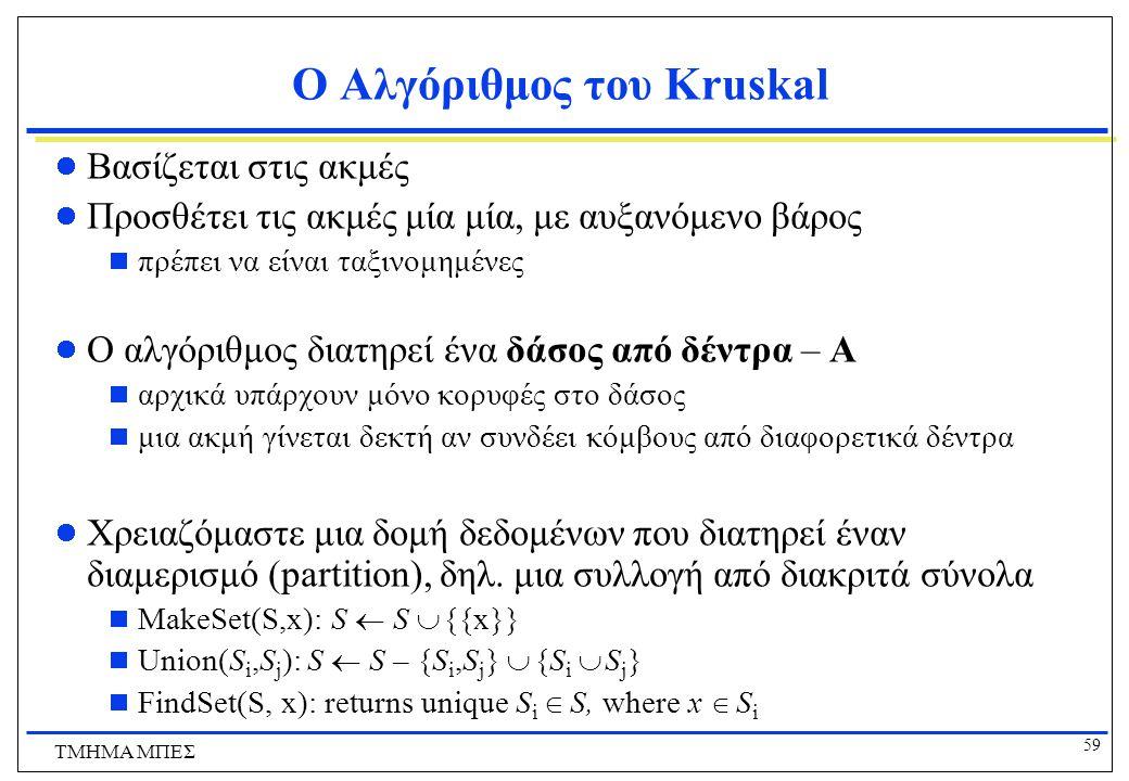 59 ΤΜΗΜΑ ΜΠΕΣ Ο Αλγόριθμος του Kruskal Βασίζεται στις ακμές Προσθέτει τις ακμές μία μία, με αυξανόμενο βάρος  πρέπει να είναι ταξινομημένες Ο αλγόριθ