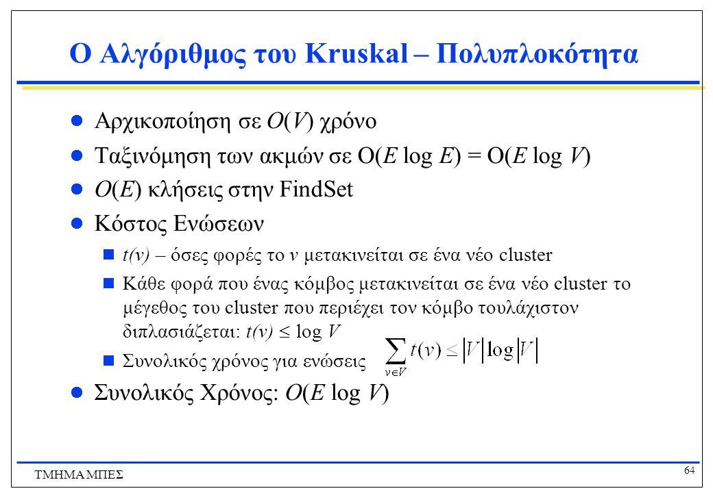 64 ΤΜΗΜΑ ΜΠΕΣ Ο Αλγόριθμος του Kruskal – Πολυπλοκότητα Αρχικοποίηση σε O(V) χρόνο Ταξινόμηση των ακμών σε  (E log E) = O(E log V) O(E) κλήσεις στην F