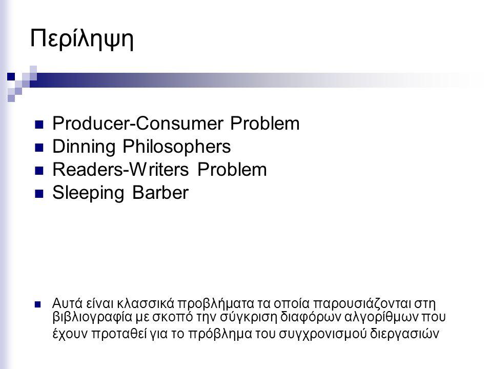Περίληψη Producer-Consumer Problem Dinning Philosophers Readers-Writers Problem Sleeping Barber Αυτά είναι κλασσικά προβλήματα τα οποία παρουσιάζονται