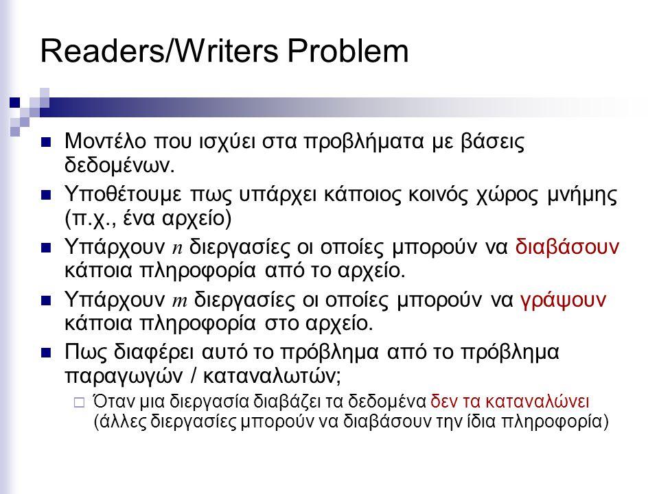 Readers/Writers Problem Μοντέλο που ισχύει στα προβλήματα με βάσεις δεδομένων. Υποθέτουμε πως υπάρχει κάποιος κοινός χώρος μνήμης (π.χ., ένα αρχείο) Υ