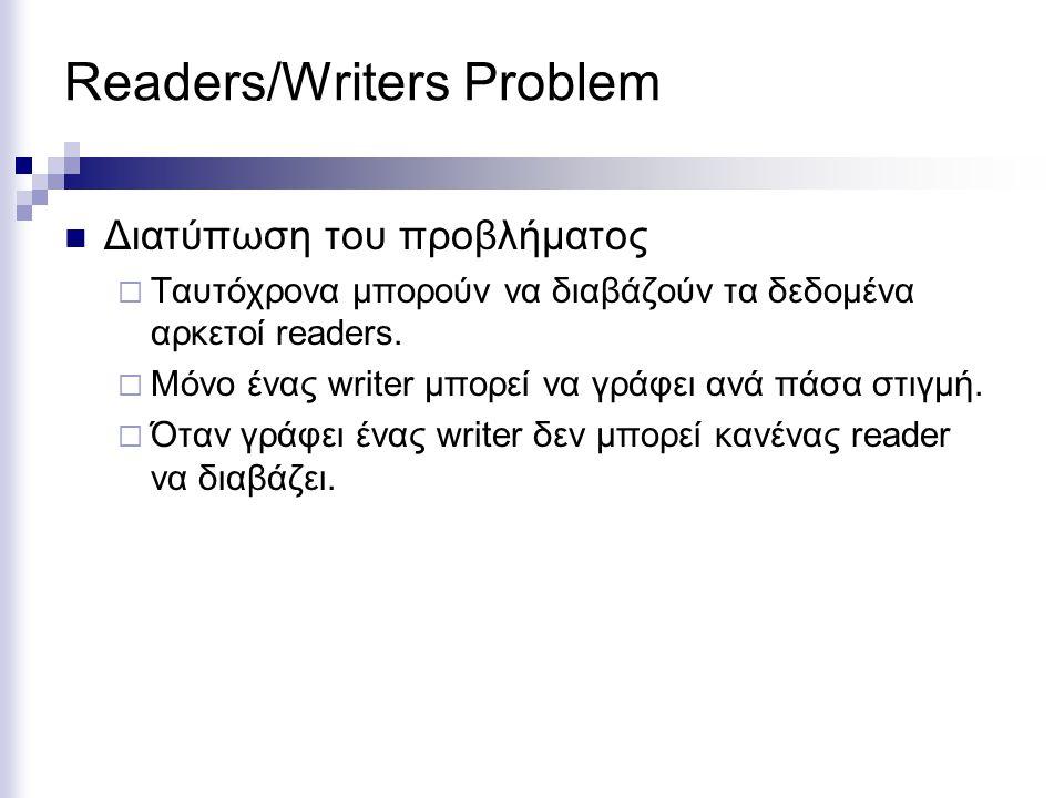 Readers/Writers Problem Διατύπωση του προβλήματος  Ταυτόχρονα μπορούν να διαβάζούν τα δεδομένα αρκετοί readers.  Μόνο ένας writer μπορεί να γράφει α