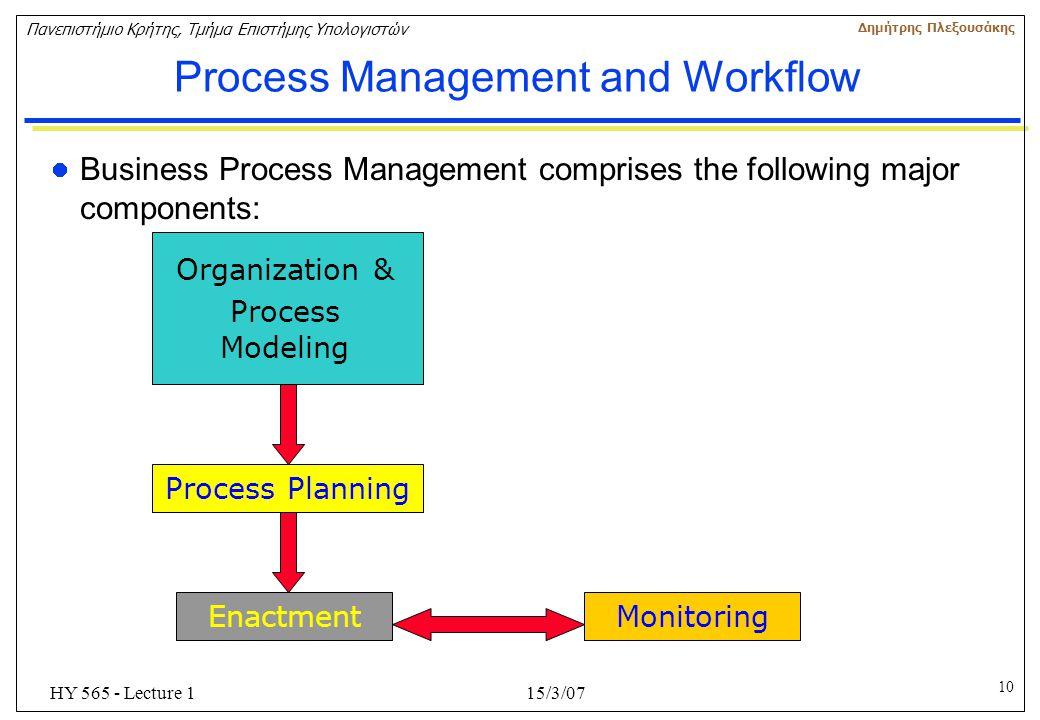 10 Πανεπιστήμιο Κρήτης, Τμήμα Επιστήμης Υπολογιστών Δημήτρης Πλεξουσάκης 15/3/07HY 565 - Lecture 1 Process Management and Workflow Business Process Ma