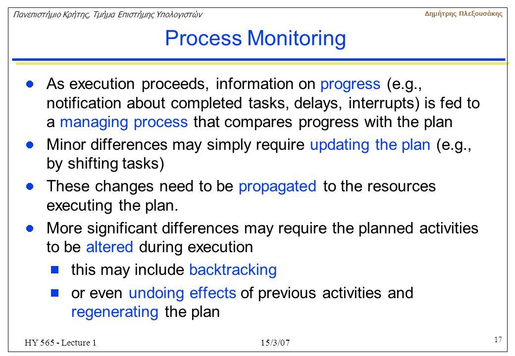 17 Πανεπιστήμιο Κρήτης, Τμήμα Επιστήμης Υπολογιστών Δημήτρης Πλεξουσάκης 15/3/07HY 565 - Lecture 1 Process Monitoring As execution proceeds, informati