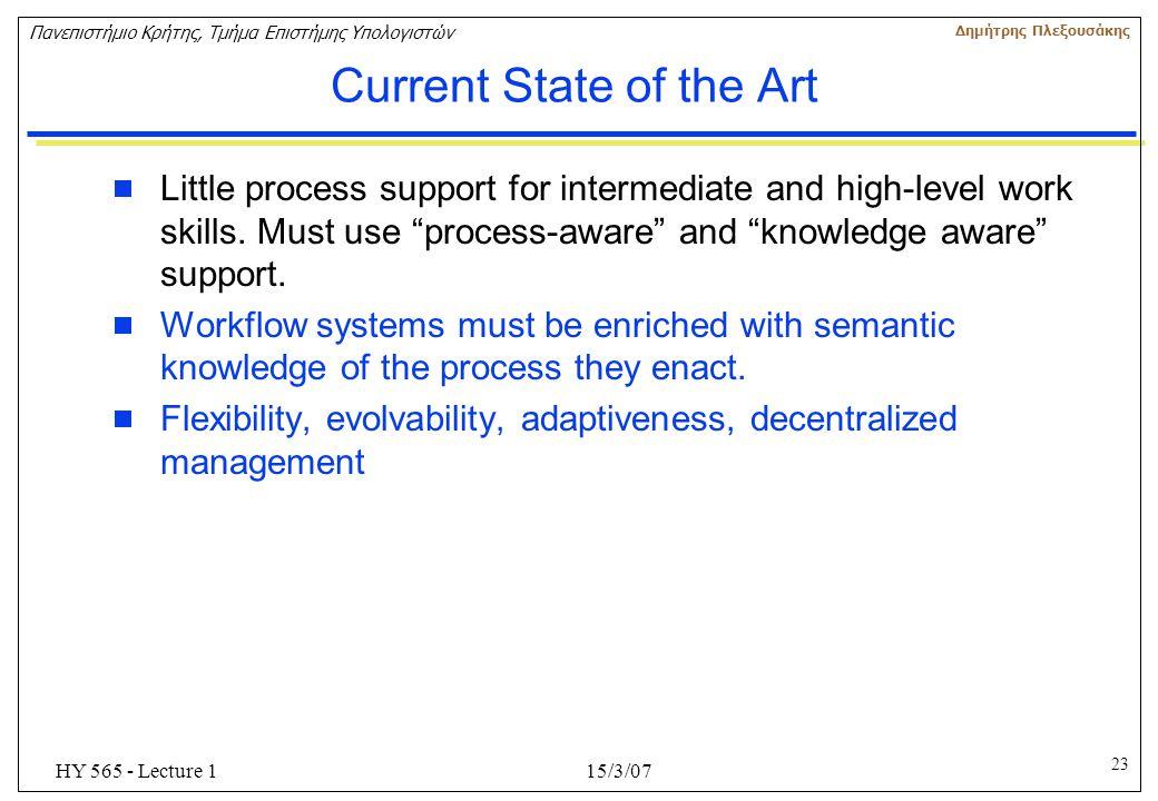 23 Πανεπιστήμιο Κρήτης, Τμήμα Επιστήμης Υπολογιστών Δημήτρης Πλεξουσάκης 15/3/07HY 565 - Lecture 1 Current State of the Art  Little process support f