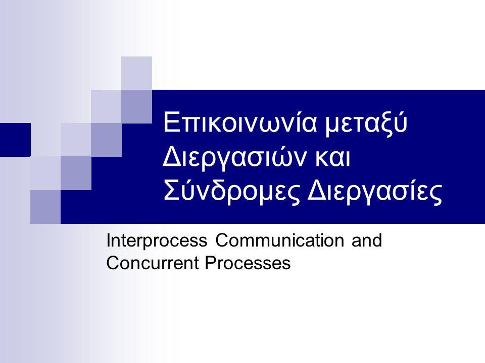 Περίληψη Σύνδρομος Προγραμματισμός  Συνθήκη συναγωνισμού  Συγχρονισμός διεργασιών Κρίσιμες περιοχές και αμοιβαίος αποκλεισμός Το Πρόβλημα Παραγωγών και Καταναλωτών Λύσεις βασισμένες στο λογισμικό Λύσεις βασισμένες στο υλικό (hardware).