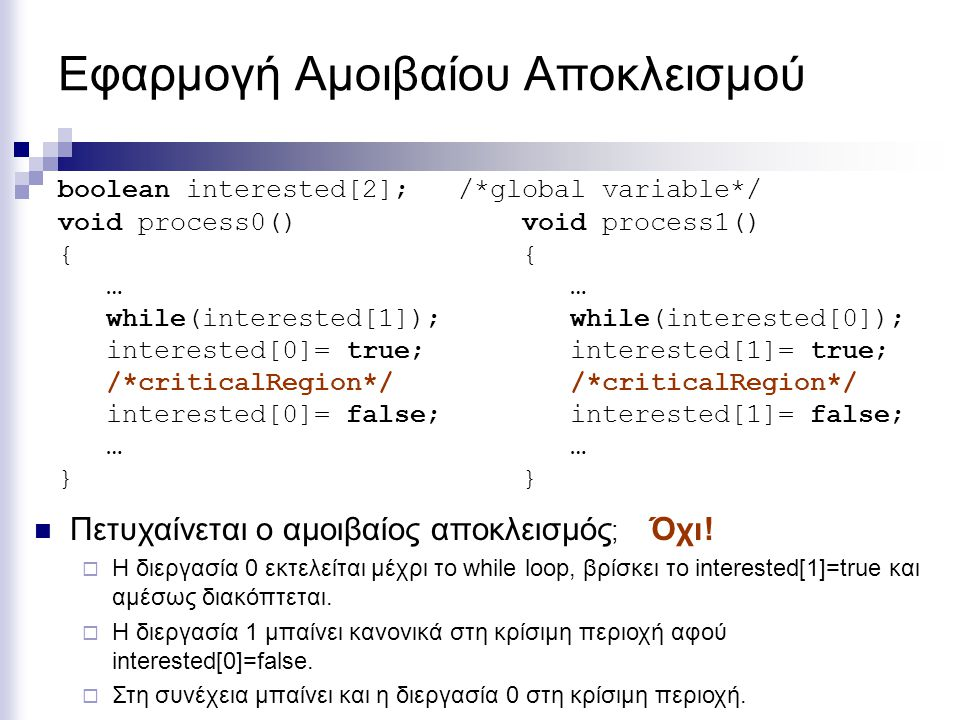 Εφαρμογή Αμοιβαίου Αποκλεισμού void process0() { … while(interested[1]); interested[0]= true; /*criticalRegion*/ interested[0]= false; … } boolean int