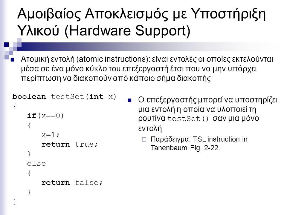 Αμοιβαίος Αποκλεισμός με Υποστήριξη Υλικού (Hardware Support) boolean testSet(int x) { if(x==0) { x=1; return true; } else { return false; } Ατομική ε