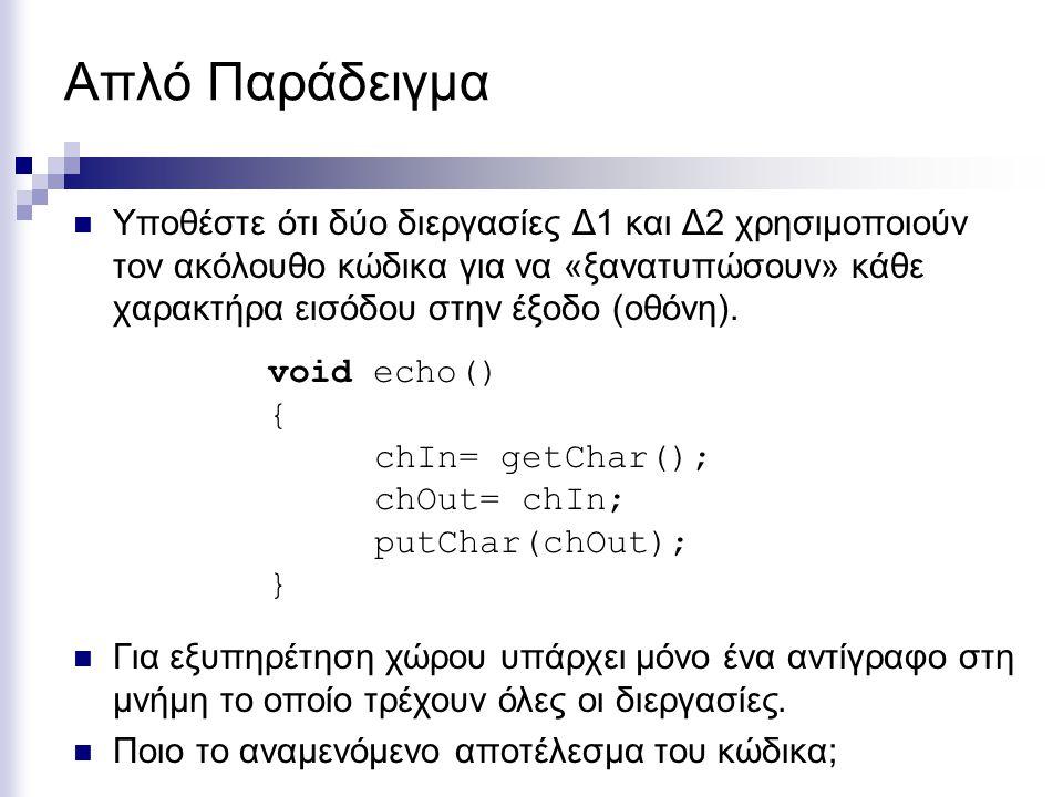 Αμοιβαίος Αποκλεισμός (Mutual Exclusion) Κρίσιμη Περιοχή (critical region) Σε κάθε δεδομένη στιγμή, μόνο μια διεργασία μπορεί να βρίσκεται μέσα στην κρίσιμή περιοχή void producer() { while(true) { item= produce(); while(nBuf==N); buf[in]= item; in= (in+1)%N; nBuf++; } void consumer() { while(true) { while(nBuf==0); item= buf[out]; consume(item); out= (out+1)%N; nBuf--; } Κρίσιμη Περιοχή