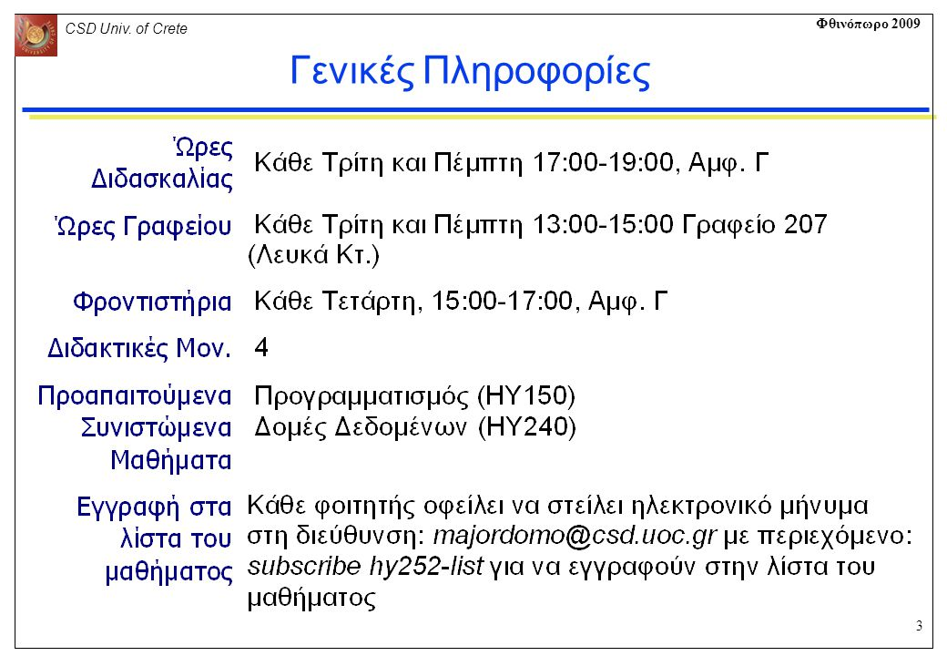 3 CSD Univ. of Crete Φθινόπωρο 2009 Γενικές Πληροφορίες